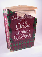 an old copy of Marcella Hazan's cookbook