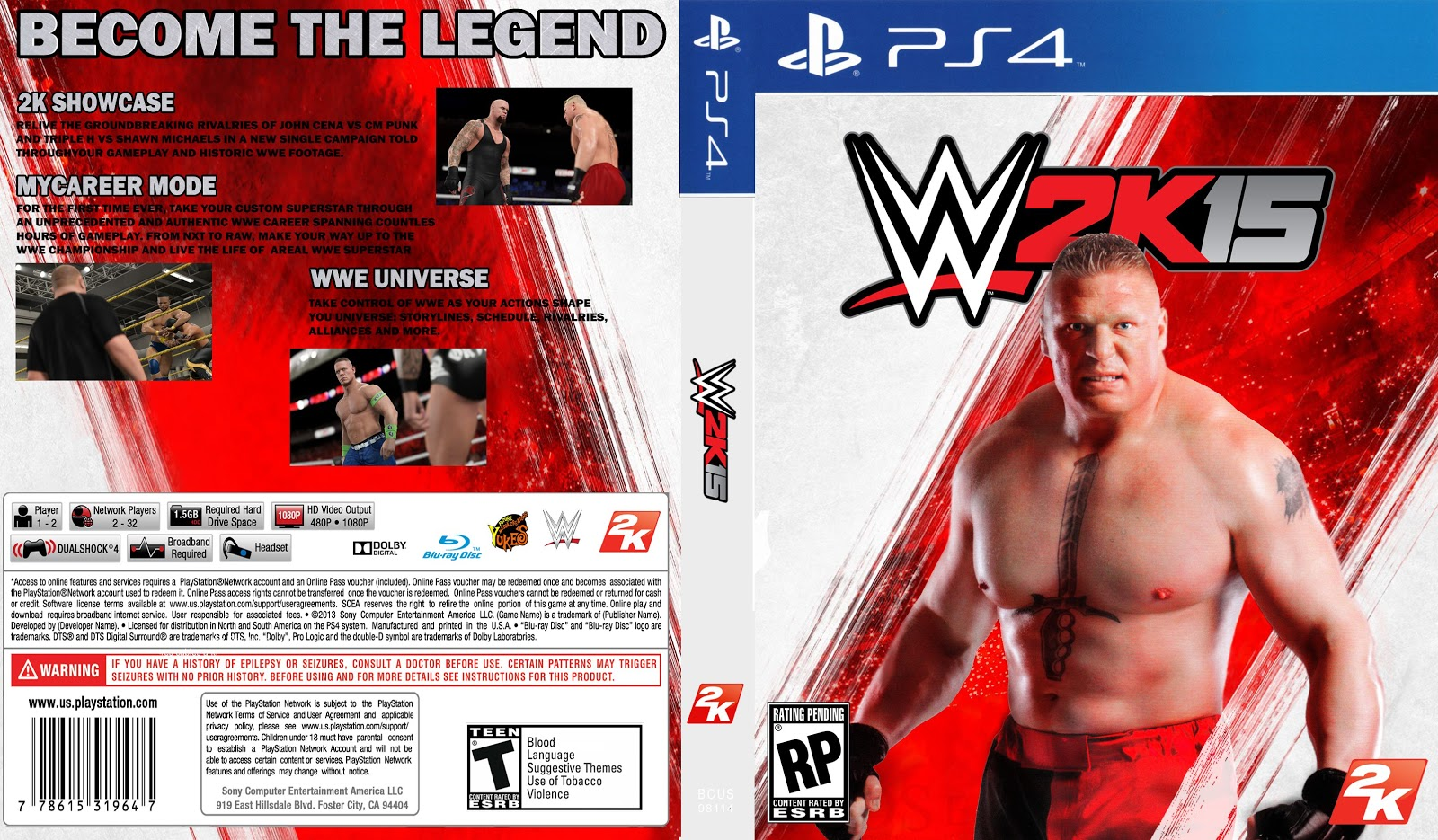 Capa WWE 2k 15 PS4