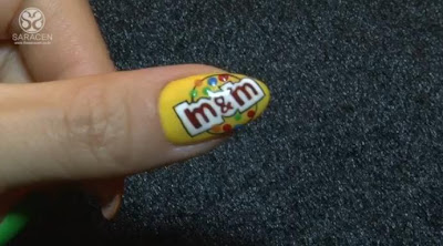 M&M's chocolate art, chocolate nail polish