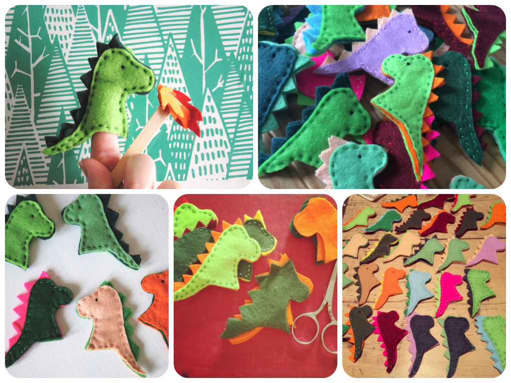 felt dragon finger puppets
