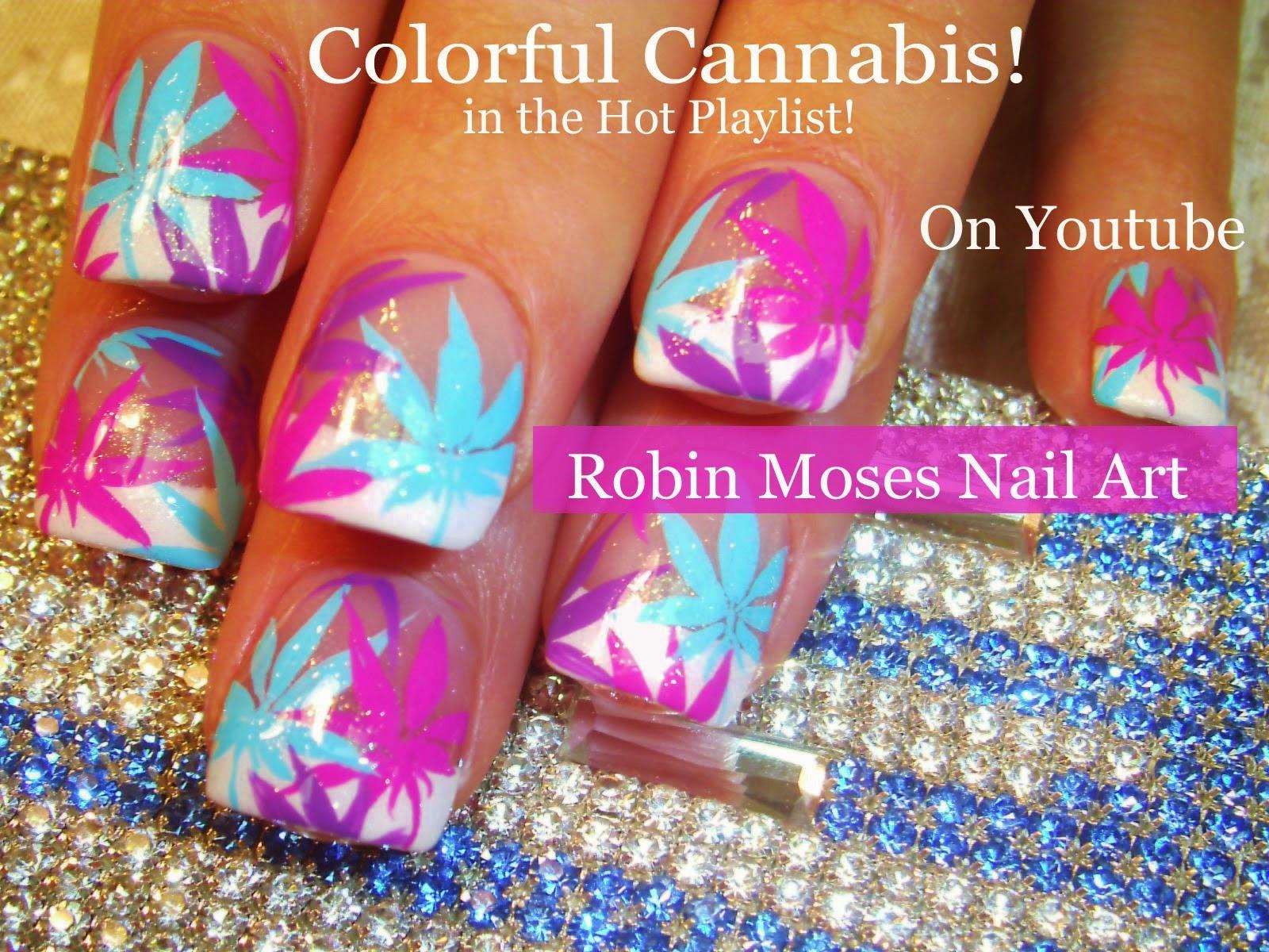 Robin Moses Nail Art: Super Cute Rainbow Pot leaf nails !!! Cute ...