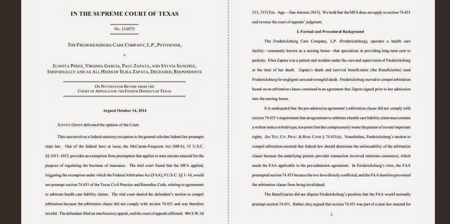 adr law texas  the fredericksburg care company l p v perez from bexar county 4th court