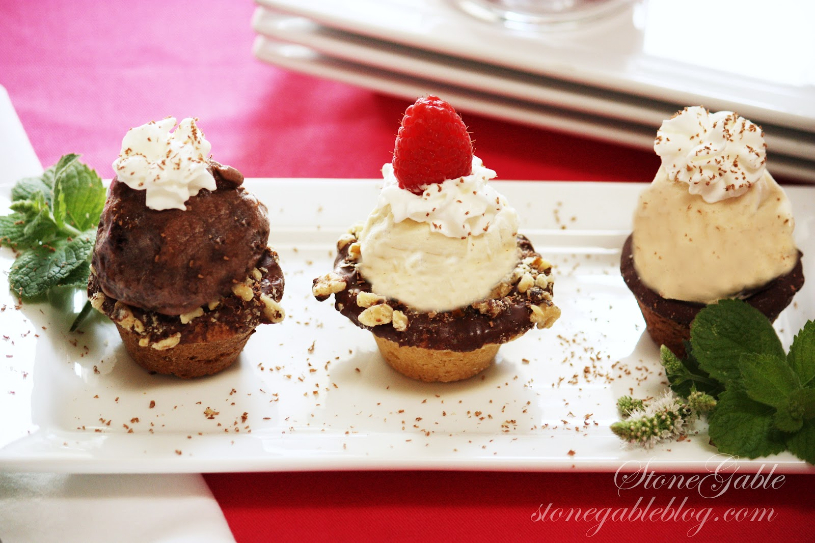 chocolate chip cookie cups with hot fudge sauce and chocolate chunk ...
