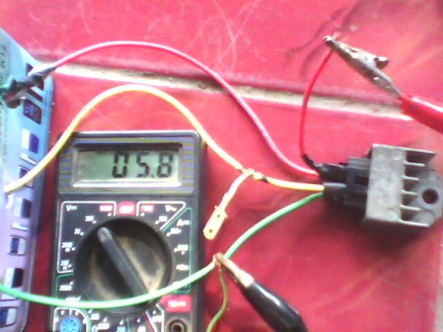 Uji kiprok Pengisian Aki terbaca 5,81 volt pertanda kiprok bagus dapat
