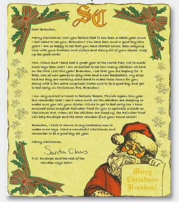 dear santa sample letter