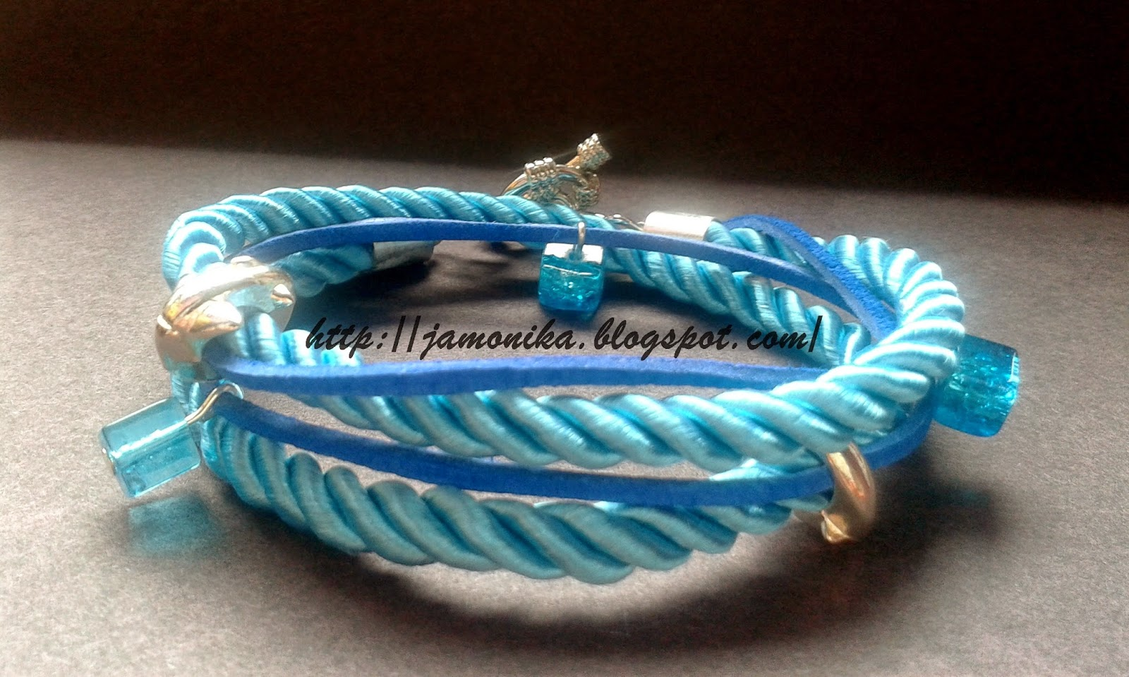 Niebieska bransoletka sznurek i rzemień