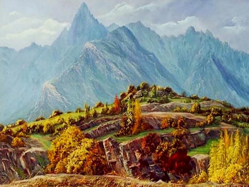 cuadros-de-paisajes-con-montañas-pintadas-al-oleo