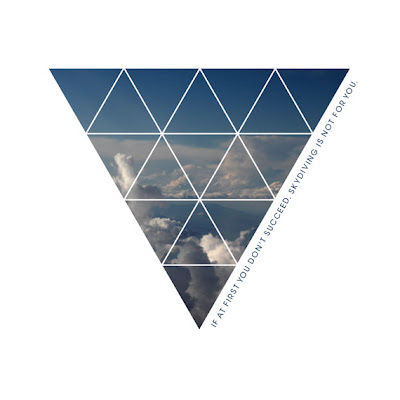 Upside down triangle shape filled with cloud photo. funny text on side
