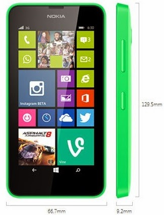 Dimensi Nokia Lumia 630 Dual SIM