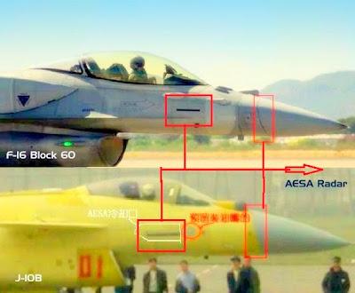 Chasseurs chinois J10b+f16+comparison+Aesa+Radar