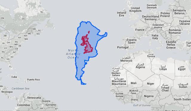 Superficie de Argentina contra la del Reino Unido