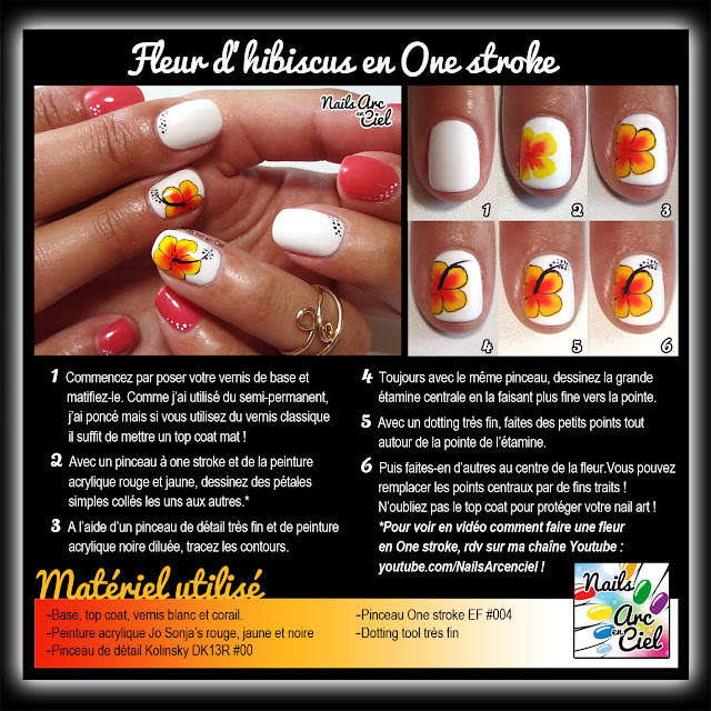 Tuto nail art fleur d'hibiscus en one stroke facile pour l'été