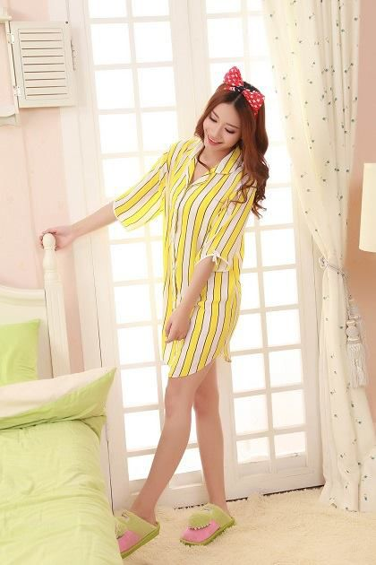 Gambar Baju Tidur Kemeja SL1152 Kuning