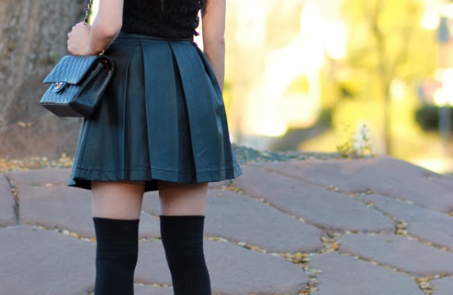 leather skirt full circle flirty outfit