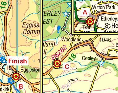 Map of the High Etherley to Eggleston area