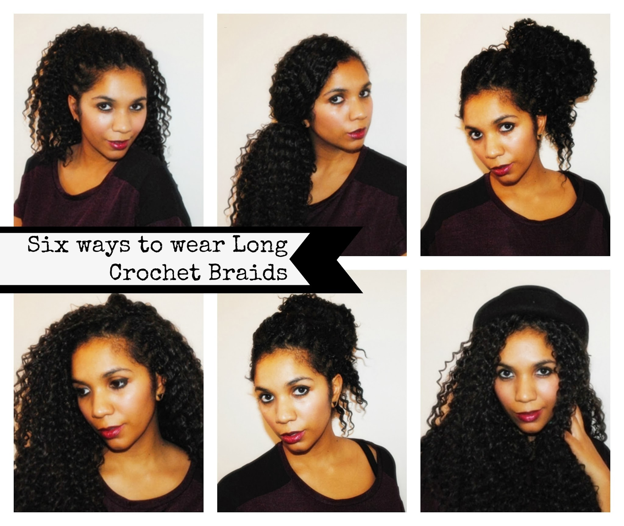 Six ways to wear Long Crochet Braids (right to left) - 1. Super high ...