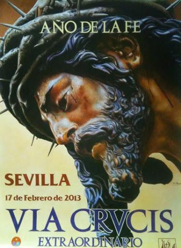 Cartel anunciador del Magno Via Crucis del Año de la Fe en Sevilla