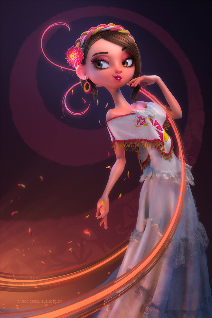 Serenata, ilustración 3D realizada por el artista mexicano Carlos Ortega Elizalde