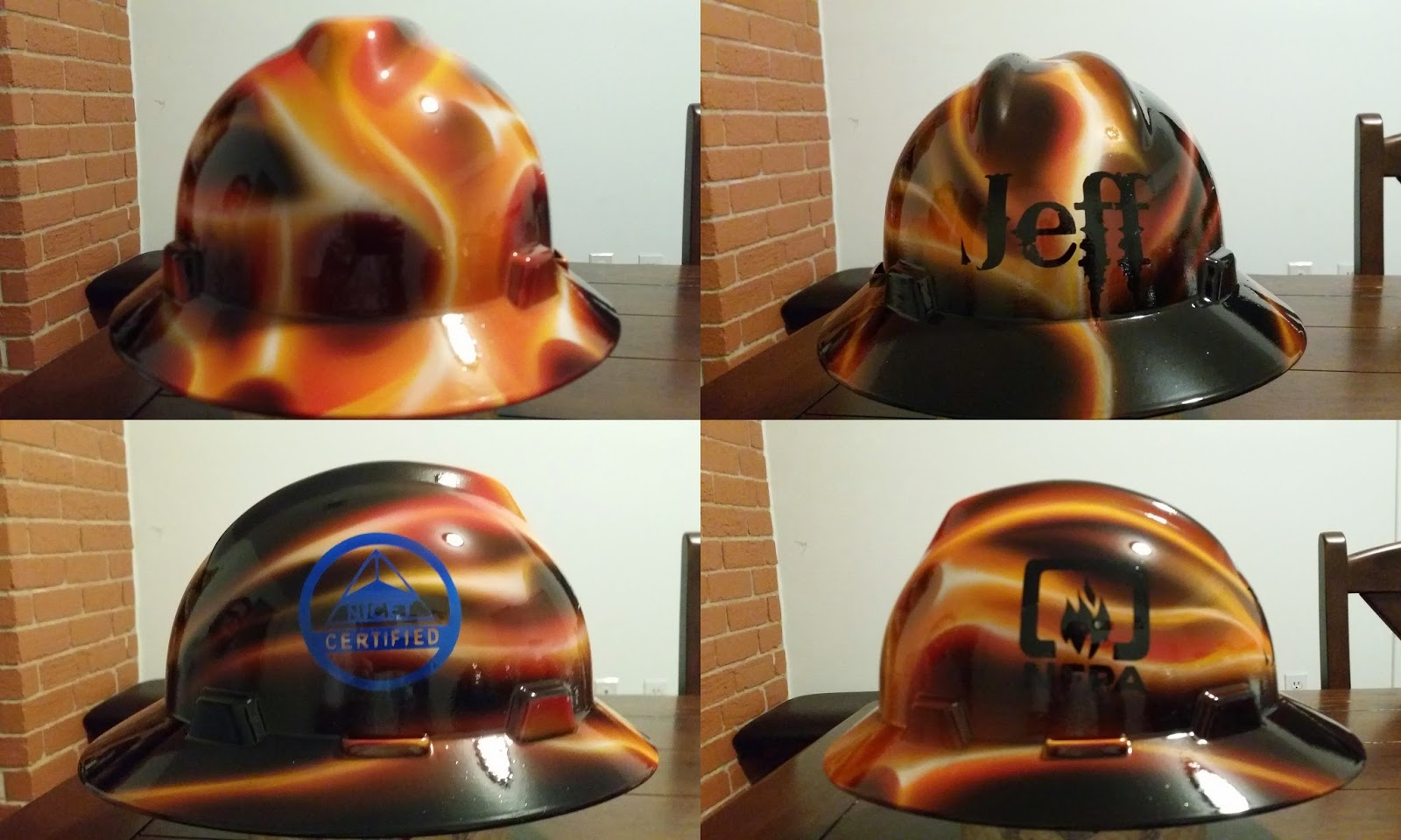 Fire suppression true flames hard hat custom design and painted by ZimmerDesignZ.com