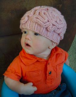 knitted baby zombie brain cap