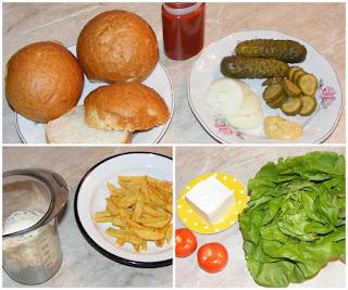 ingrediente pentru hamburgeri, chifle, salata, branza, rosii, ceapa, castraveti, maioneza, ketchup, cartofi prajiti,