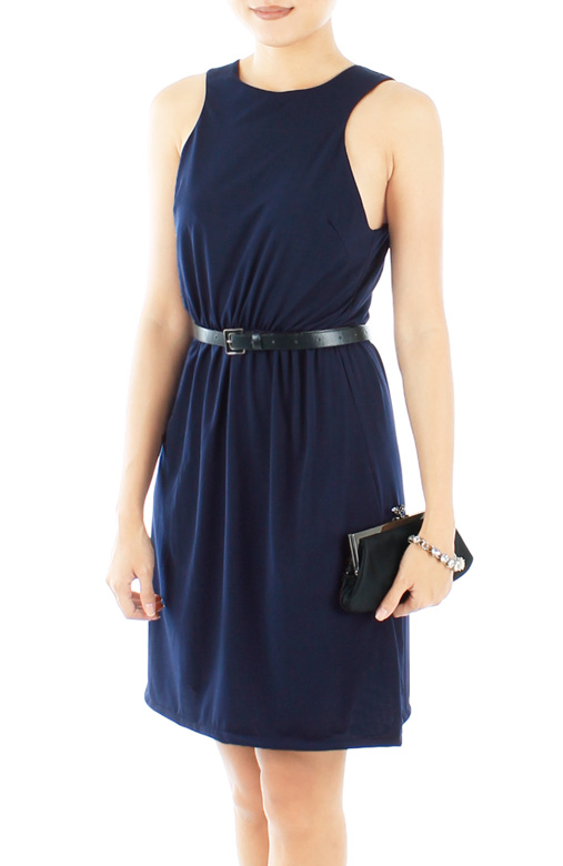 Oxford High Neck Dress in Midnight