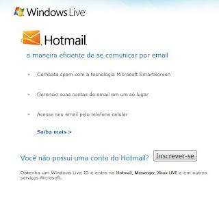 criando email hotmail
