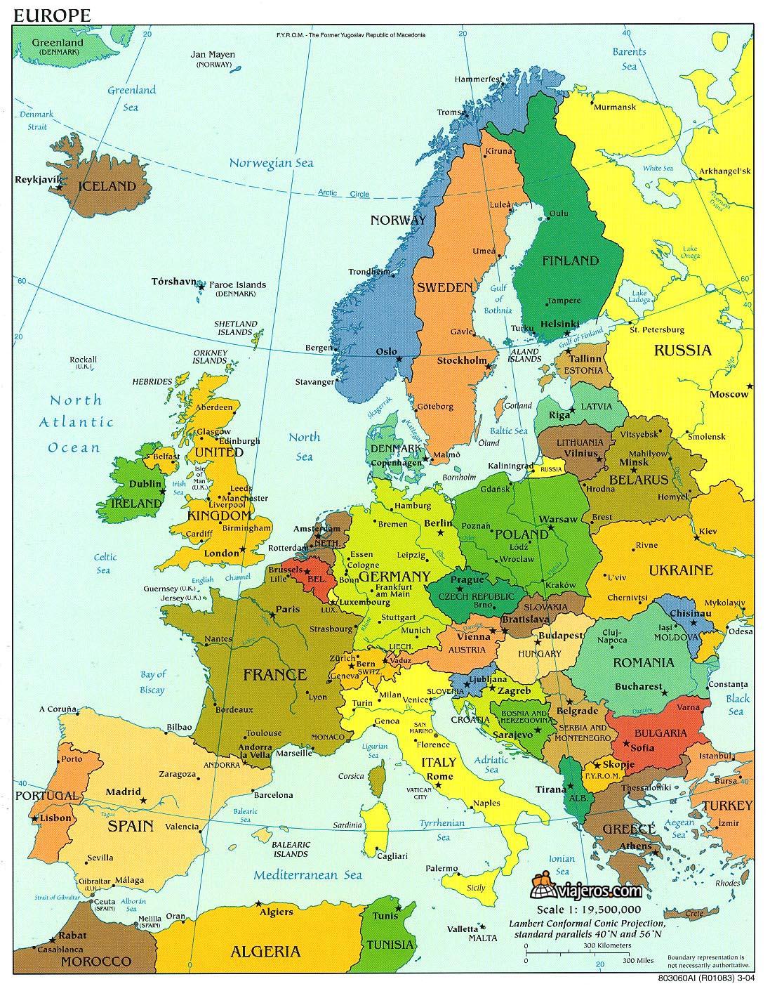 Paises Europa Capitales Mapa