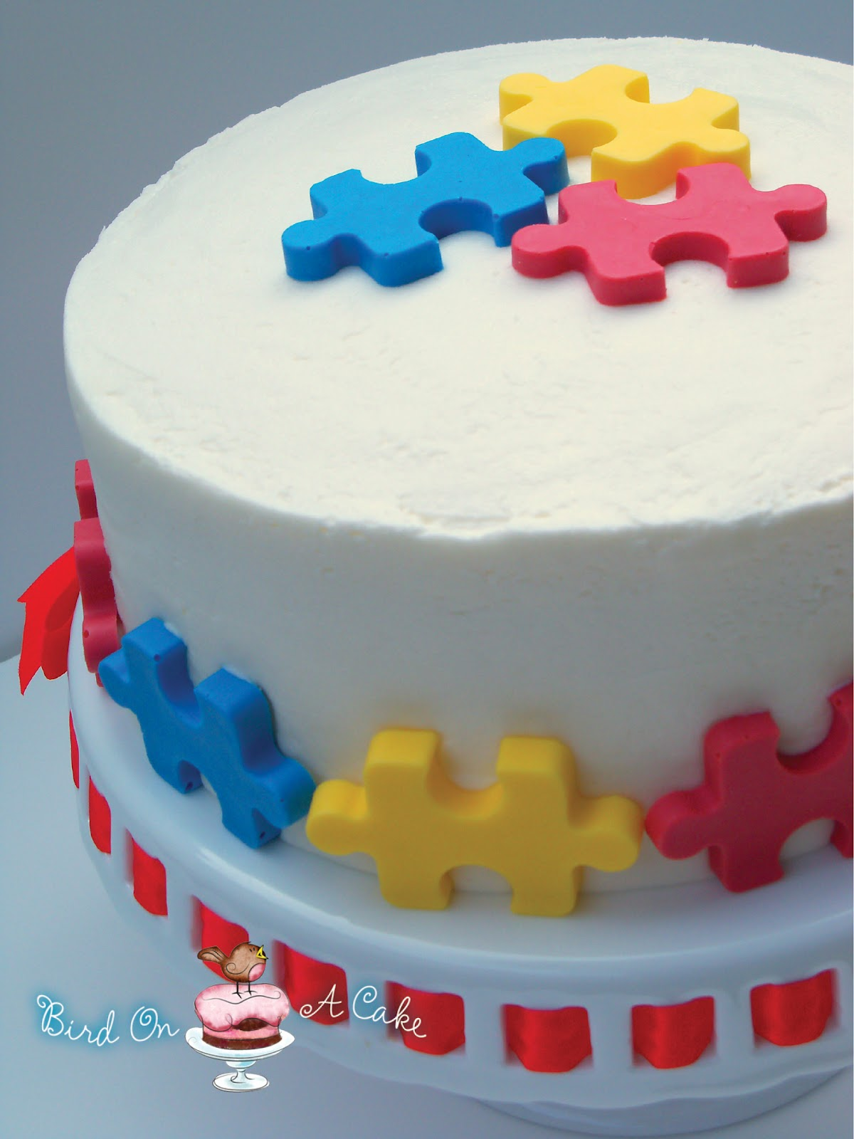 Cake Decorated By Girl With Autism : Bird On A Cake: Puzzle Piece Cake