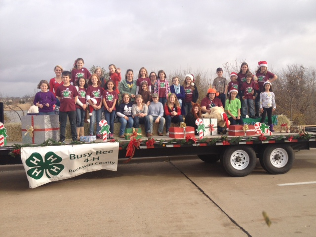 and driving the float in the parade thanks to all the parents and 4 hers who helped decorate the float and everyone who rode the float