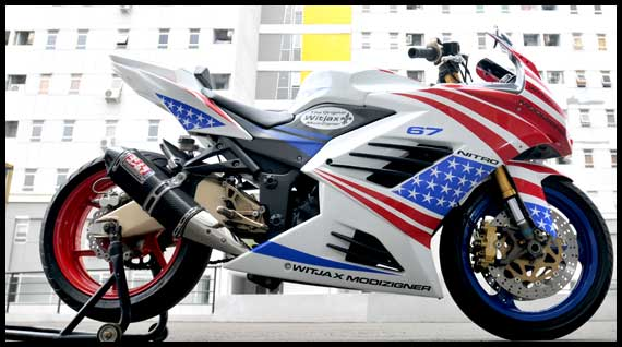 Kawasaki Ninja 250R Modifikasi Gaya Amerika Terbaru 2011 title=