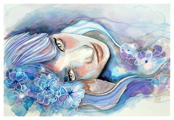 Jana Lepejova jane-beata deviantart pinturas aquarela mulheres olhares femininos Violeta
