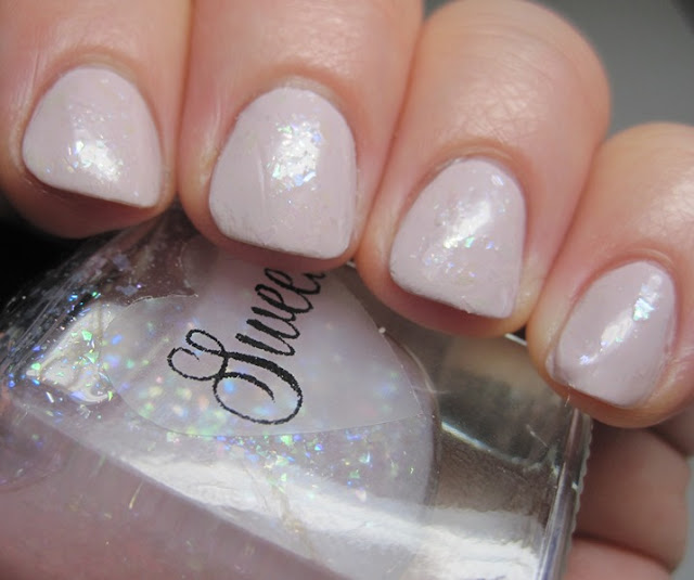 Sweetheart Polish.  This is She's So Flakey, a blush-pink jelly base with pink and green flakies