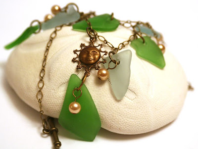 Unbirthday gift from Ginger: sea glass, pearls, brass :: All Pretty Things
