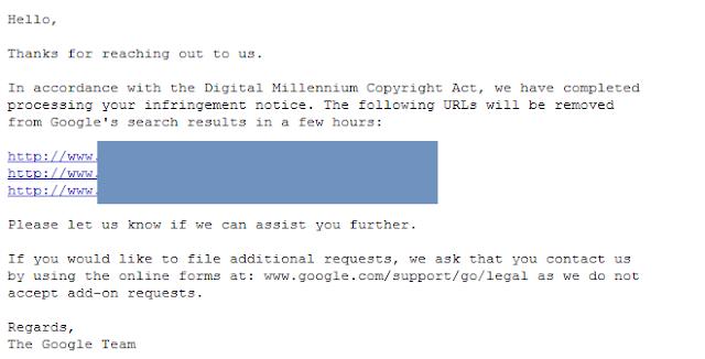 pozytywne rozpatrzenie DMCA