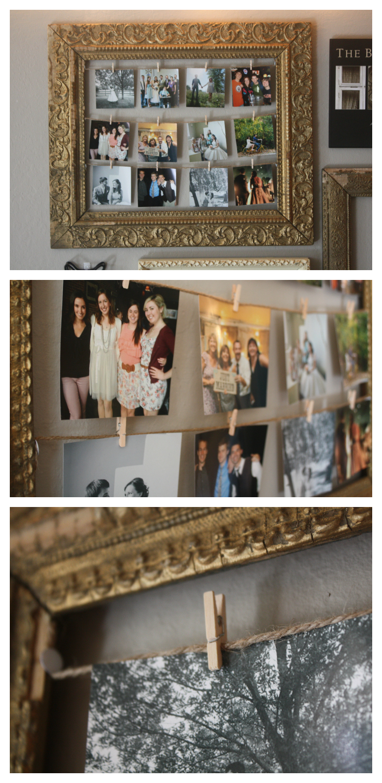 a.b.daisy: PHOTOS ON CLOTHESPINS: FILL AN ANTIQUE FRAME