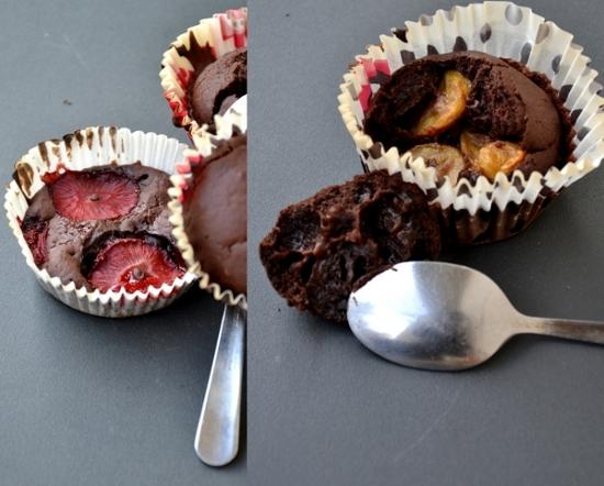 muffin e tortine al cacao con fragole e bananito