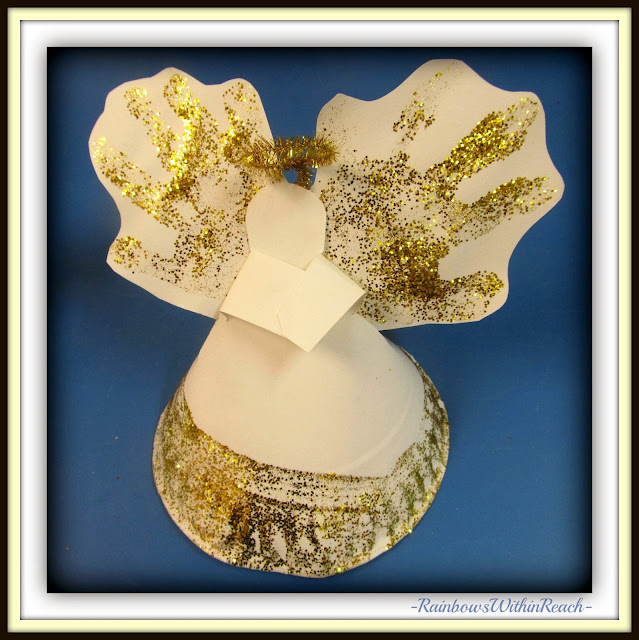Handprint Angel: created from Paper Plate via RainbowsWIthinReach