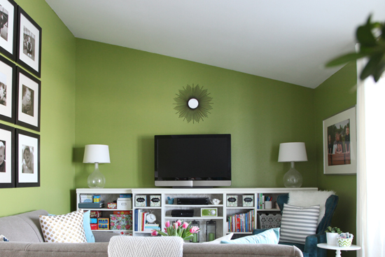 IHeart Organizing  Living Room Update  A Gallon of Paint Later. Green Paint Living Room. Home Design Ideas