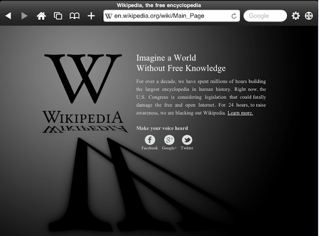 Wikipedia go blackout on 18th Jan 2012