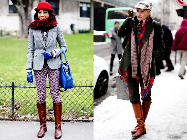 Dos ejemplos de Street Style con botas altas, mezcla de diferentes estampados de cuadrados y de colores