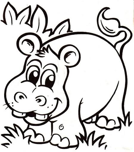 Dibujos y Plantillas para imprimir: Dibujos de Hipopotamos