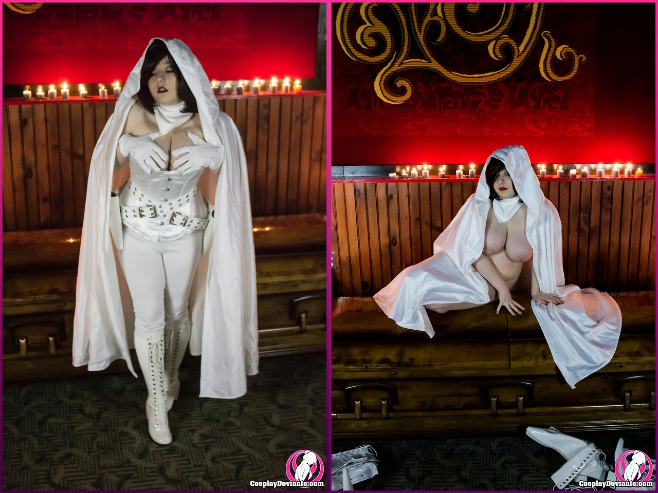 photo de cosplay de ghost en dyptique nue et habillée