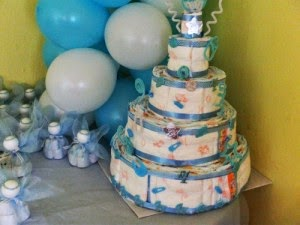 Decoracion para Baby Shower, Torta de Pañales