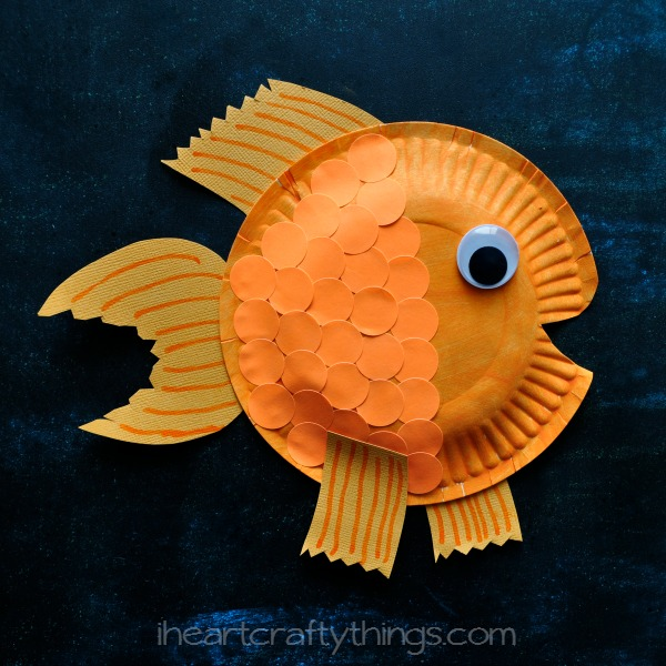 Glue Your Fins To Paper Plate Finish Fish By Cutting Out