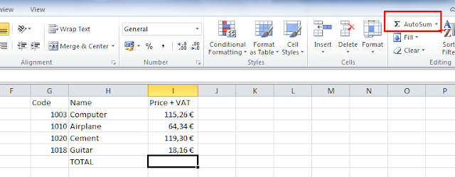 Excel sum column - how to use sum function