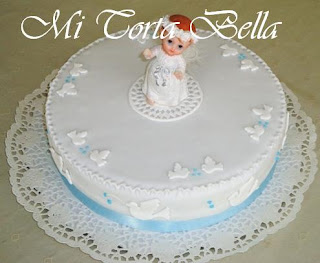 Torta de bautismo para niño - Angel con palomitas