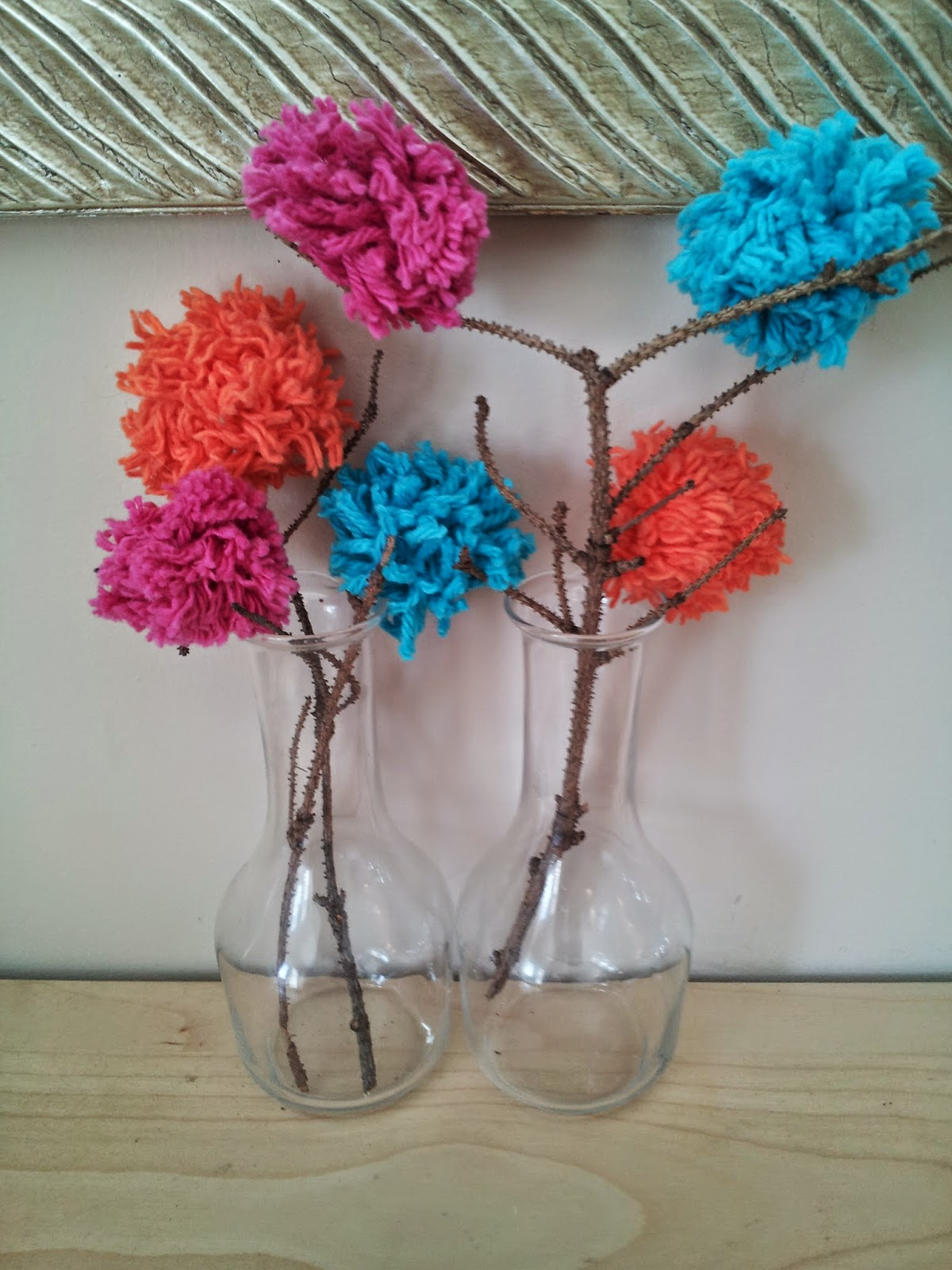 Pom-Pom flower craft, wool pom-poms, kids crafts, spring craft