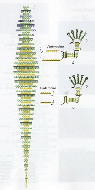 Схема плетения ящерицы из