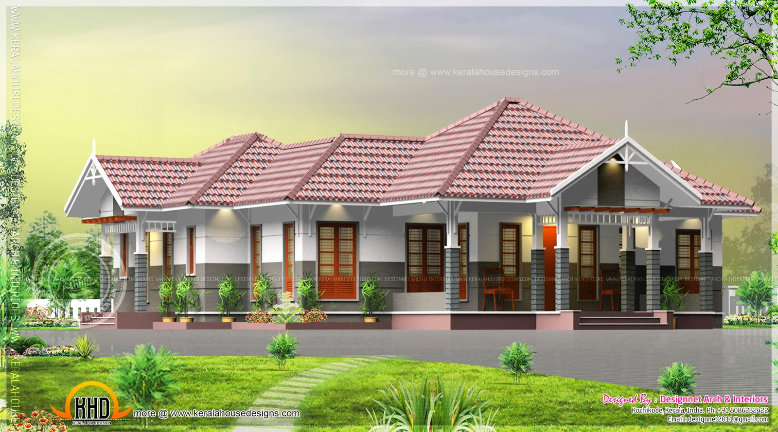 Single floor courtyard 4 bedroom house kerala home for Sloped roof house plans in india